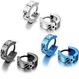 #3: JewelryWe 大切な人や,彼氏・彼女へのプレゼント:3ペア(6個) ステンレス ピアス フープ シンプル メンズ レディース,カラー:シルバー(銀);ブラック;ブルー