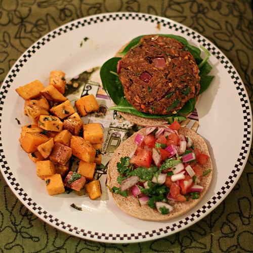 Cilantro lime sweet potatoes and the perfect vegan black bean burger ...