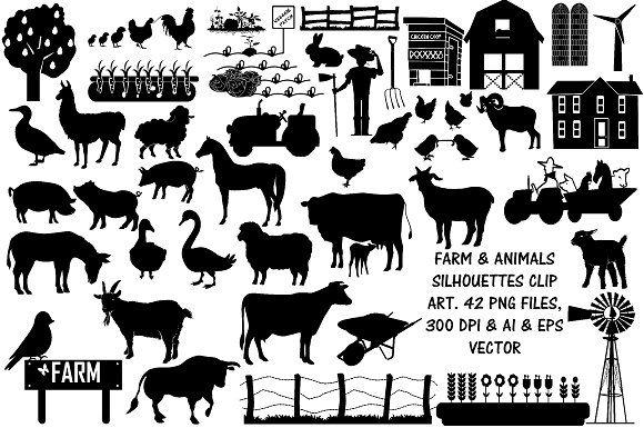 Farm Animal Silhouettes Ai Eps Png Animal Silhouette Silhouette Clip Art Farm Animals