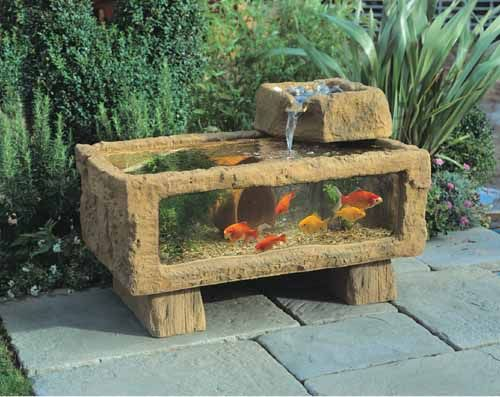 Porch ponds all seasons 150 patio aquarium with keystone for Outdoor fish fountain