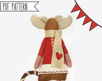 Navidad renos patrón, patrón de costura de PDF para un cartero de renos nórdicos festivo, patrones de Navidad, juguete Reno venado costura diy