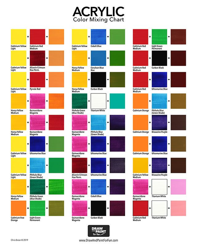 Acrylic Color Mixing Chart Draw And Paint For Fun In 2020 Color Mixing Chart Mixing Paint Colors Color Mixing Chart Acrylic