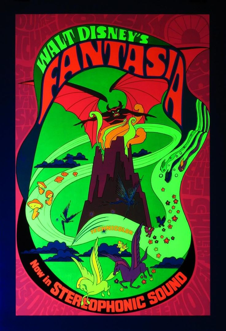 Disney velvet coloring posters - Pretty Groovy Blacklight Poster For Fantasia 1971 Re Release I Guess They Wanted
