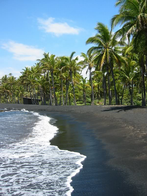 Swimming at the black sand beach - Big Island, Hawaii