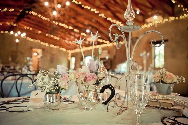 Flowers in vintage silver pots