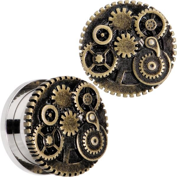 """5/8"""" Steampunk Gears and Gizmos Screw Fit Tunnel Plug Set"""