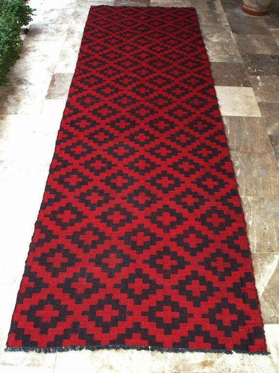 Magnificent Geometry Perfection in Reversible Red Black Vintage Kilim Rug Runner  by VintageHomeStories,