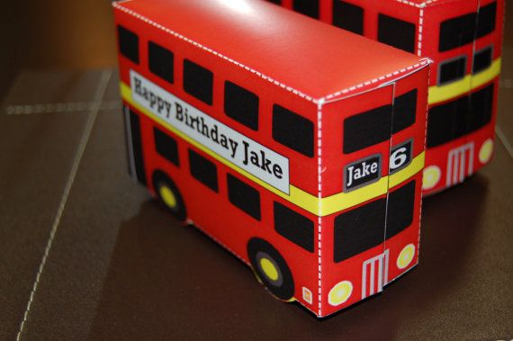 Personalized printable Big Red Bus favor by WendysPrintableParty, $7.00