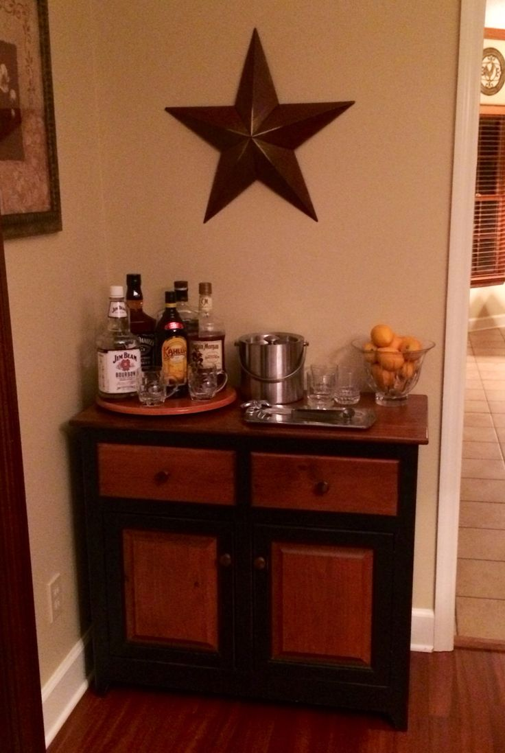 small bar for dining room | Small bar on cabinet in dining room. | Office | Pinterest
