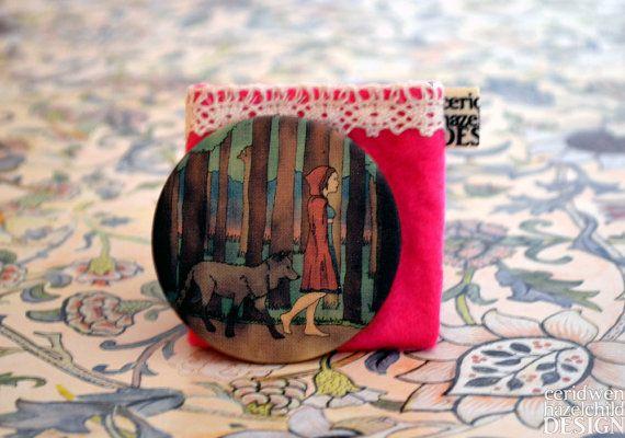 Red Riding Hood Illustration Fabric Pocket Mirror