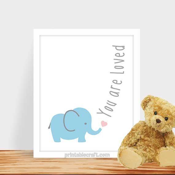 You are loved Nursery art baby boy elephant art by PrintableCraft