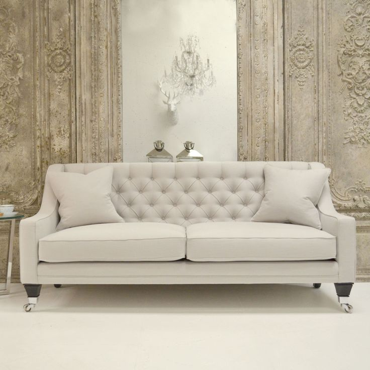 photographed in romo linara feather grey the claridge collection is chic and sleek this luxury designer sofa sofa has a gorgeous deep buttoned back and