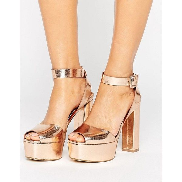 Glamorous Rose Gold Platform Heeled Sandals (£38) ❤ liked on Polyvore featuring shoes, sandals, gold, platform heel sandals, high heel sandals, rose gold sandals, rose gold heeled sandals and heeled sandals