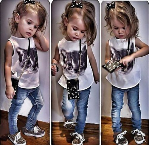Details about Toddler Baby Girls Dress Cat Print T-shirt +Denim Pants Set Kids Clothes Outfits
