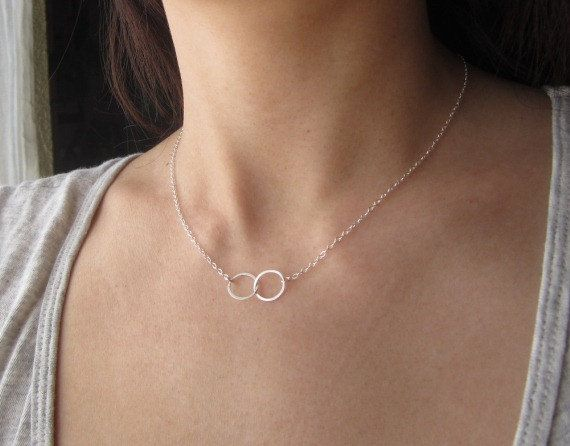 Sterling Silver Eternity Double Ring Necklace, eternity necklace, simple everyday wear, dainty necklace