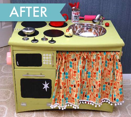This is great inspiration for turning ordinary pieces into awesome finds!: Kitchens Interiors, Little Girls, Kitchens Design, Old Furniture, Tv Cabinets, Design Kitchens, Plays Kitchens, Old Cabinets, Kids Kitchens