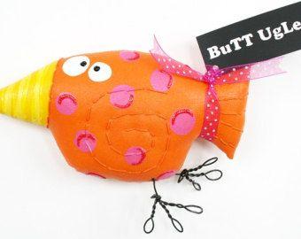 SoLd ... SoLd ... Sold ...Bird Named SorBet ... WhimSicaL WaLL ArT  ... pink orange polka dots ... BuTt UgLee