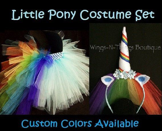 RAINBOW UNICORN PONY COSTUME 2pc SET 2-6yrs, Tulle Handmade Tutu Skirt Toddler #Handmade #Skirt