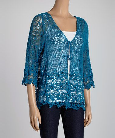 Loving this Teal Jewel Crocheted Short-Sleeve Cardigan on #zulily! #zulilyfinds