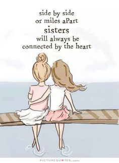 Side by side or miles apart, sisters will always be connected by the heart. Picture Quotes.