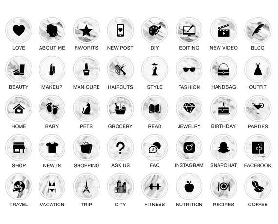 Lot de 52 Instagram histoire met en évidence les icônes – prêt-à-utiliser noir et marbre, Instagram level culminant icônes, Instagram faits saillants