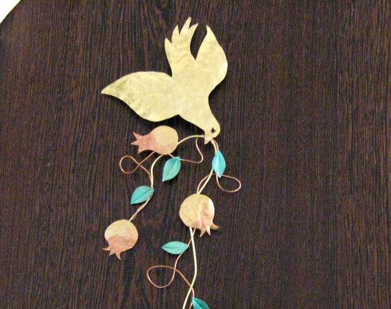 Hanging brass pigeon with a branch of pomegranates/ homme decor / wall decor…