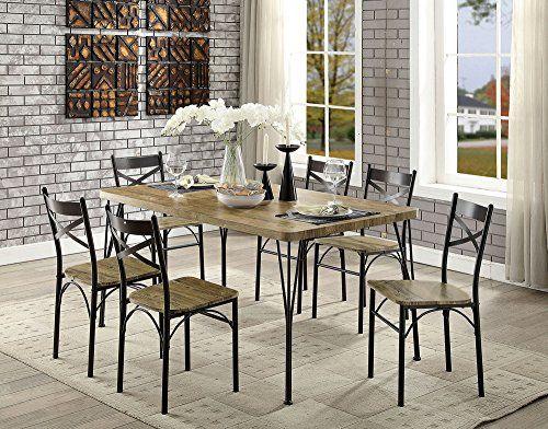 William S Home Furnishing Cm3279t 60 7pk Banbury Dining Table Set Gray Dark Bronze Industrial Dining Sets Dining Room Sets Wooden Dining Table Set