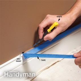 For a perfect edge, let the paint dry, then cut the tape loose.