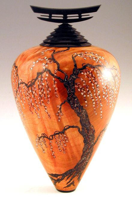 Stephen Hatcher ~ Weeping-1 ... turned and carved wood with insets of translucent crystals