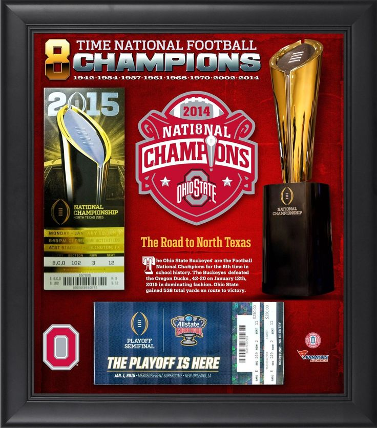 """Ohio State Buckeyes 2014 College Football Playoff National Champions Framed 15"""" x 17"""" Ticket Collage - Fanatics Authentic Certified"""