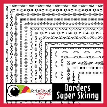 Borders Super Skinny contains 20 different doodled borders in black line only and will fit right up to the edge of a U.S. Letter size page.The main thumbnail shows between half to one third the size of the borders so you are able to see the fine, whimsical and fun, skinny detail.Use these Borders to create your worksheets, activities, product covers, posters and other teaching resources.