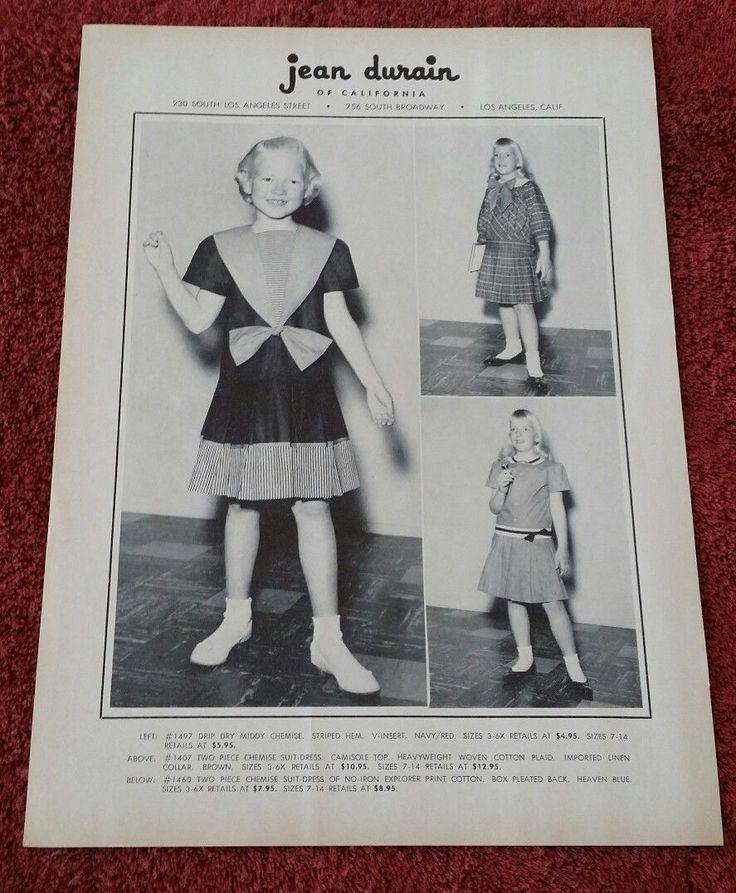 Винтаж жан дюрен маленькая девочка детская одежда 1958 печатная clp с указанием цены | eBay