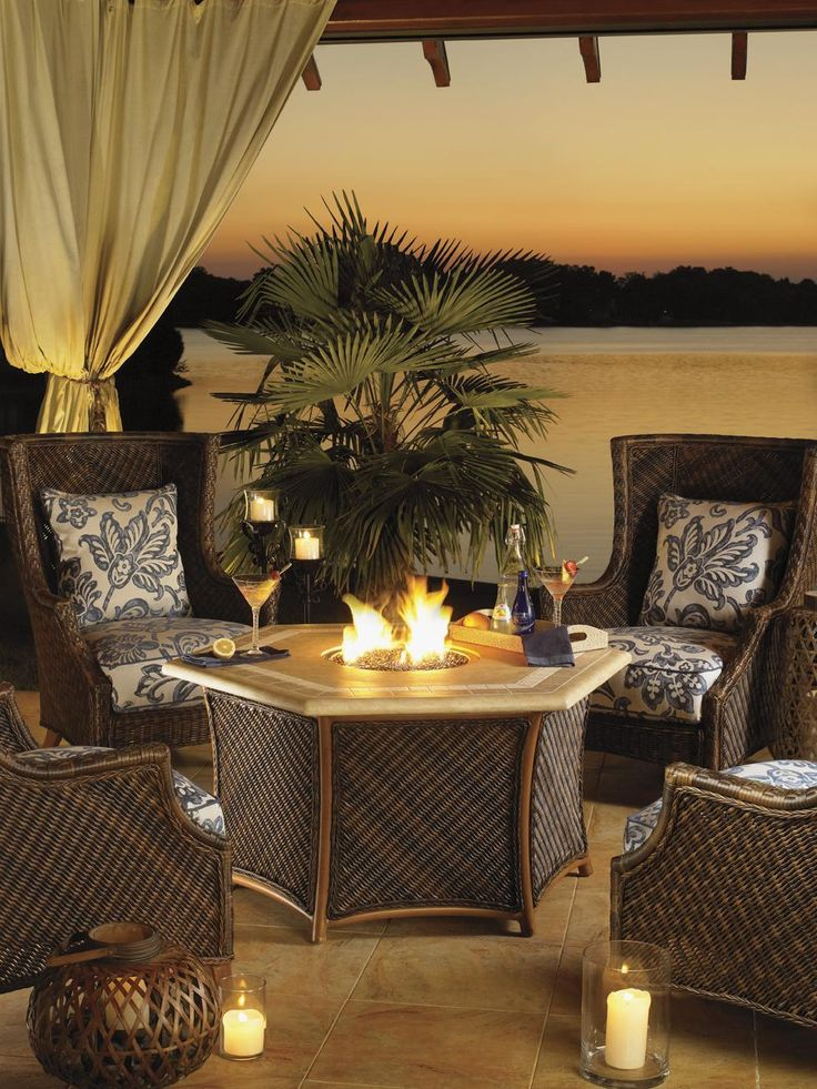 Island Estate Lanai Outdoor Gas Fire Pit With Hexagon Shaped Weatherstone  Table Top By Tommy Bahama Outdoor Living
