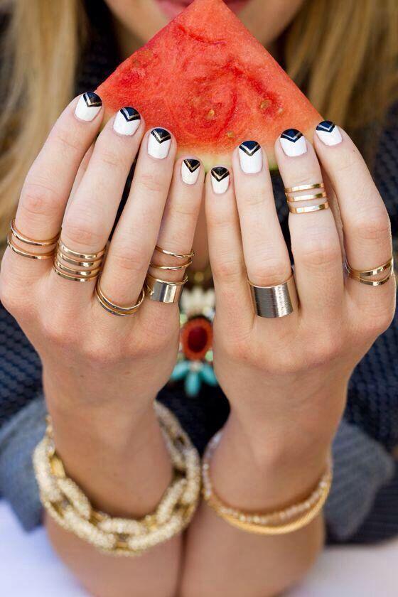 White nails black tape design glitter silver stripe nails