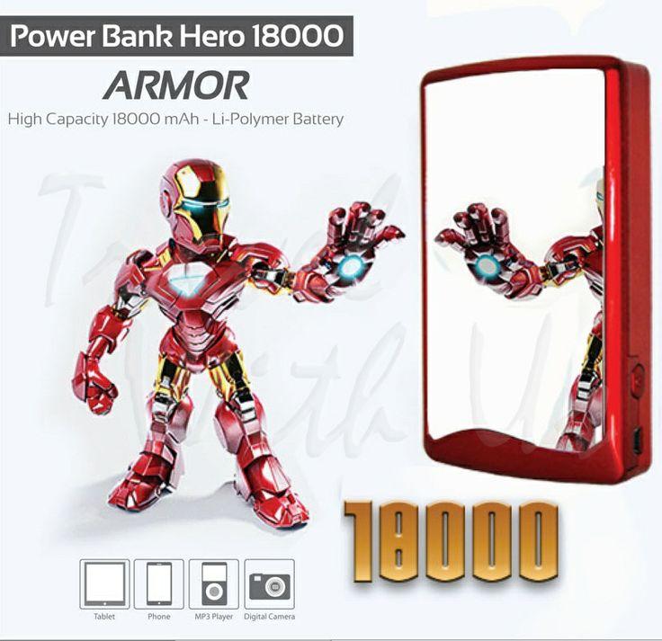 PowerBank Hero Armor 18000mAh, Only Rp 370.000,- *not include shipping cost  - Design berbahan plastik abs (ringan & tahan panas) berlapis reflektif - Memiliki 2 output port USB; port 1,0A untuk pengisian ulang handphone/ smartphone, BB, IPhone, Android, MP3 Player, PSP dan port 2,1A untuk pengisian device ber-ampere besar - Kabel Adapter dengan 5 connector + 1 adapter - Dapat digunakan untuk 2 device sekaligus - Indikator status battery dan saat digunakan - 1 LED sebagai lampu darurat