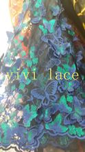 5 yardas CCL003 un lado floral de la mariposa 3d de malla de tela para el vestido de boda/vestido de noche/vestido desfile de moda, la nave de dhl(China (Mainland))