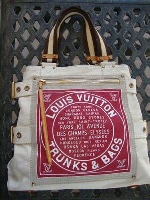 LOUIS VUITTON Globe Shopper CABAS RED TRUNKS DENIM tote ...