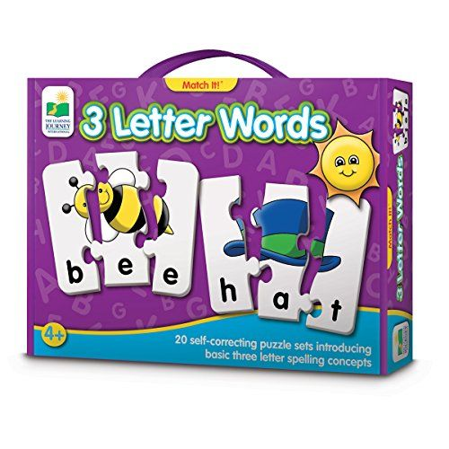 The Learning Journey Match It! 3 Letter Words - Learning to Spell becomes fun and easy with Match It! 3 Letter Words! These colorful three letter puzzle card sets provide children with a great introduction to spelling and will help to expand their vocabulary. They will learn to spell by associating the object with the word and correctly assemb...