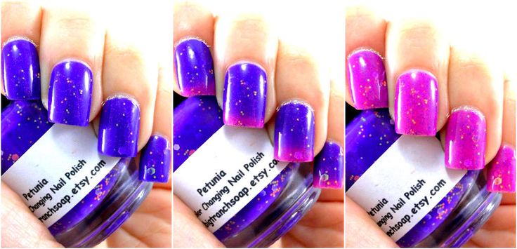 "Color Changing Nail Polish-Purple/Pink-""Petunia""-Temperature Changing-Custom Blended Polish/Lacquer - 0.5 oz Full Sized Bottle by BigTRanchSoap on Etsy https://www.etsy.com/listing/224748792/color-changing-nail-polish-purplepink"
