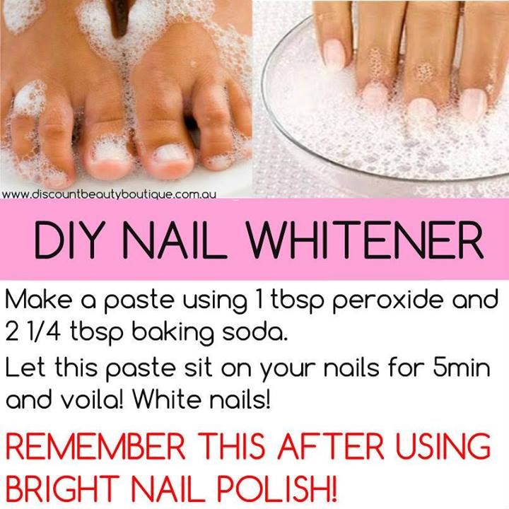 DIY Nail Whitener-  Make past of 1 tbsp peroxide and 2 1/4 tbsp baking soda  -  Let this sit on you nails for 5 minutes. Rinse.....White nails!