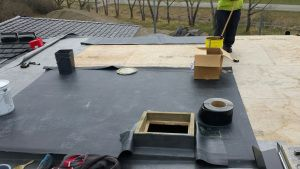 EPDM install in progress.