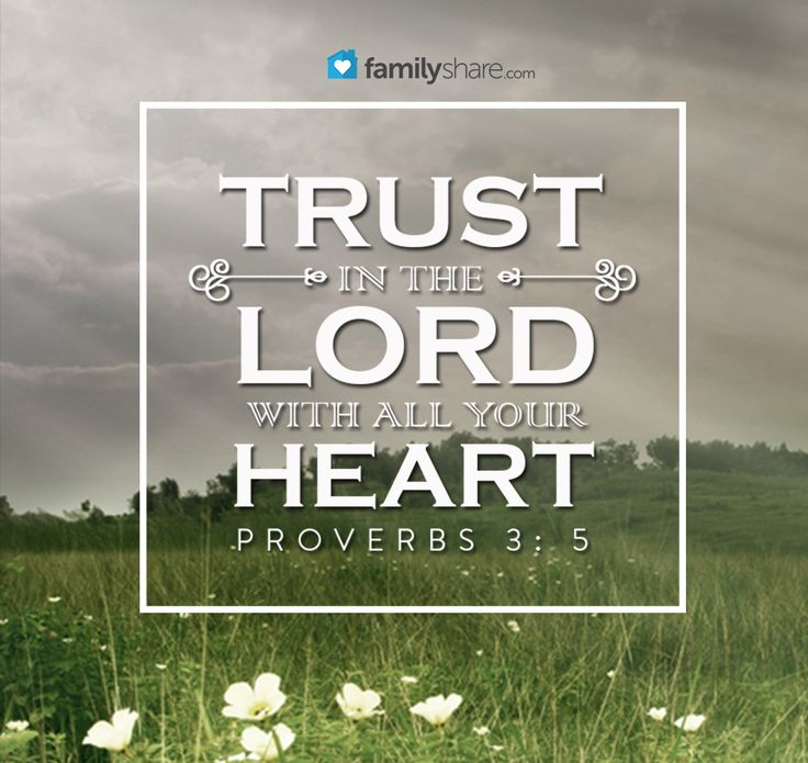 Proverbs 3: 5 - Trust in the Lord with all thine heart; and lean not unto thine own understanding.