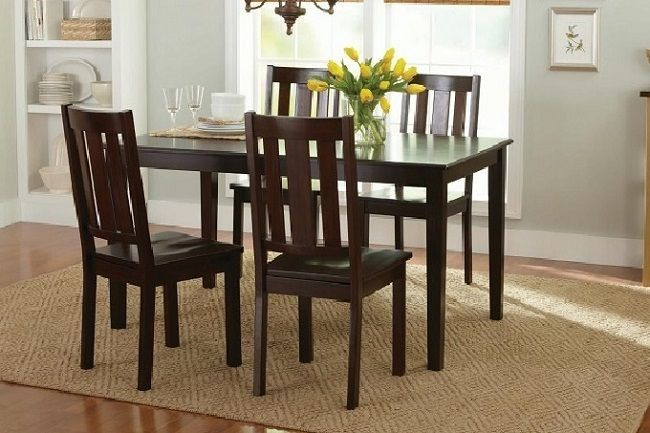 solid wood 5 pc dining set table 4 chairs kitchen farmhouse heavy rh pinterest co uk