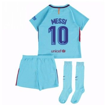 Barcelona Lionel Messi 10 kläder Barn 17-18 Bortatröja Kortärmad  #Billiga #fotbollströjor