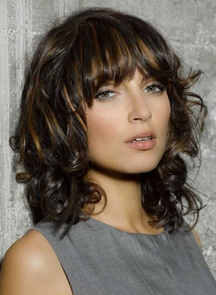 Medium Haircuts With Bangs Wavy Hair