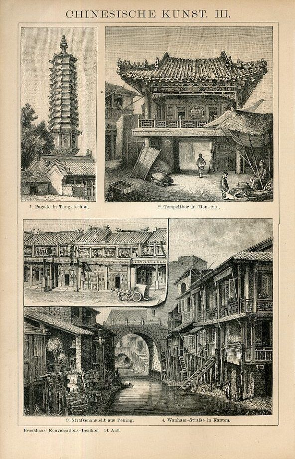 1894 China Chinese Art Figures People Architecture Antique Engraving Print | eBay