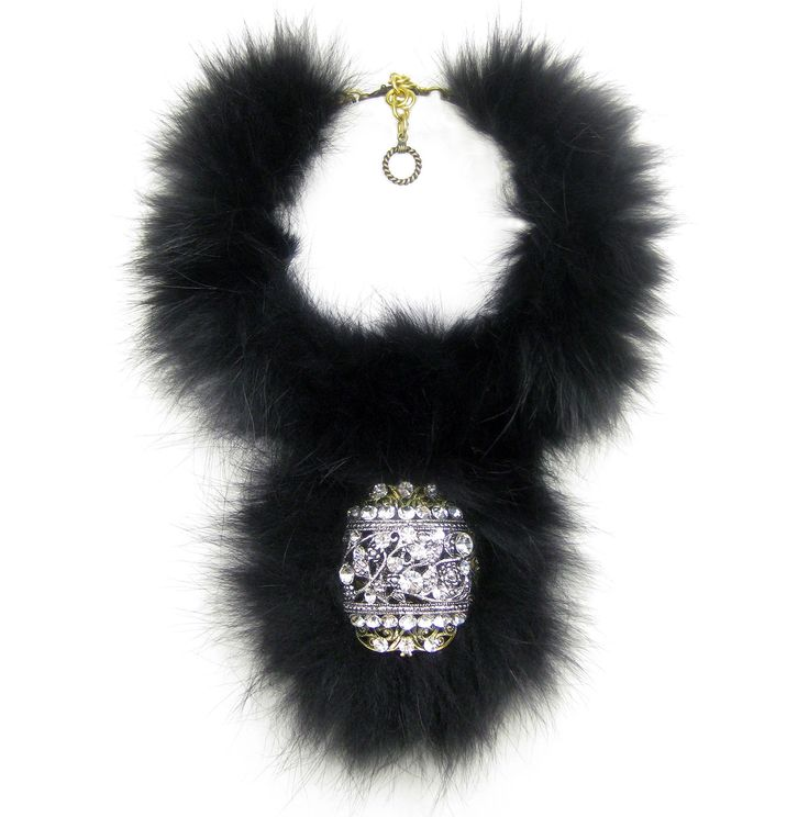 Glamorous, chic and oh so cozy! Karen McFarlane coyote fur, and rhinestone encrusted filigree collar with pendant necklace. http://jewellerybykaren.com/boutique/necklaces/necklace-1077n