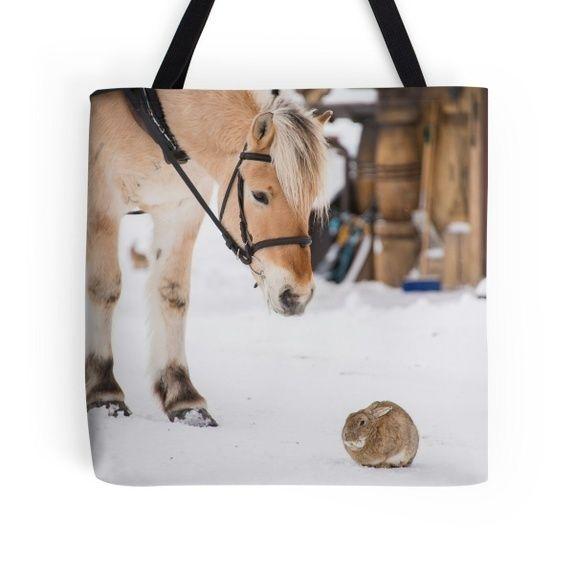"""Stor Skulderveske/nett """"Venner""""  En flott julegave til en hestejente!"""