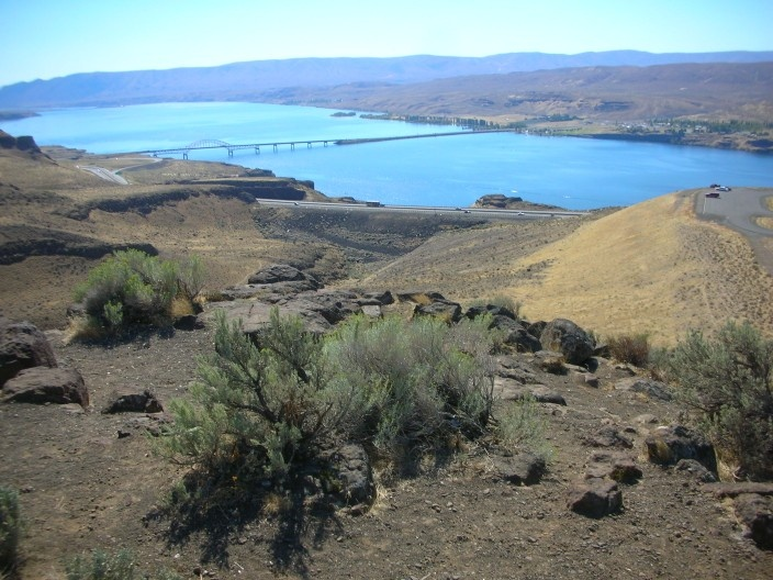 Interstate 90 in Eastern Washington at the Columbia River near the Vantage Bridge, Vantage, WA