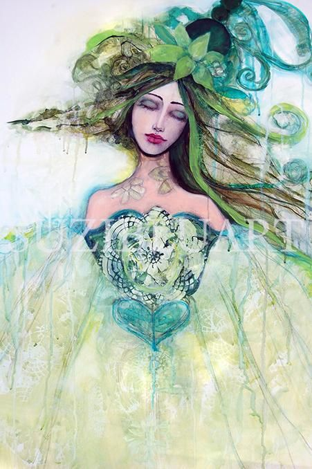"""Open Your Heart,"" Suzi Blu, mixed media on canvas, 24 x 36, $700 plus shipping."